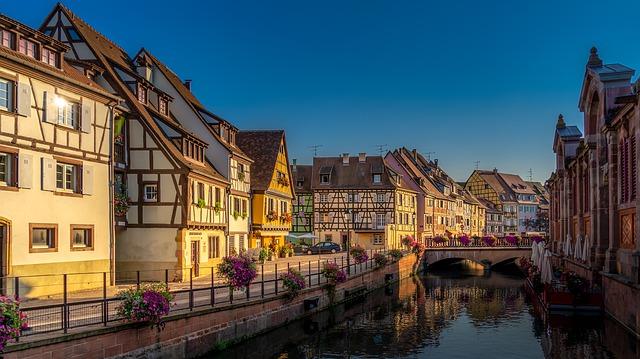 Alsácia, Colmar, casas de madeira