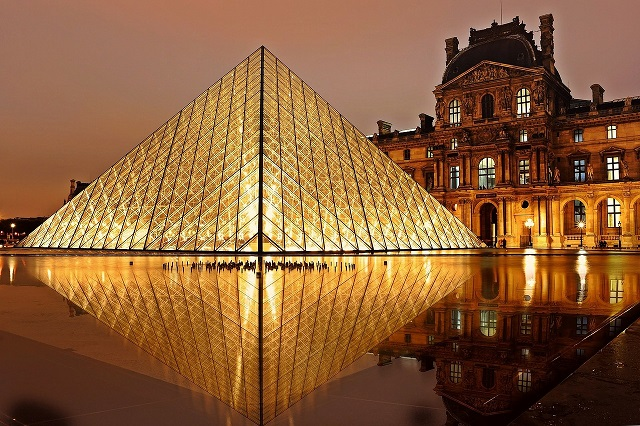 Pyramid and Louvre Museum, Paris, France