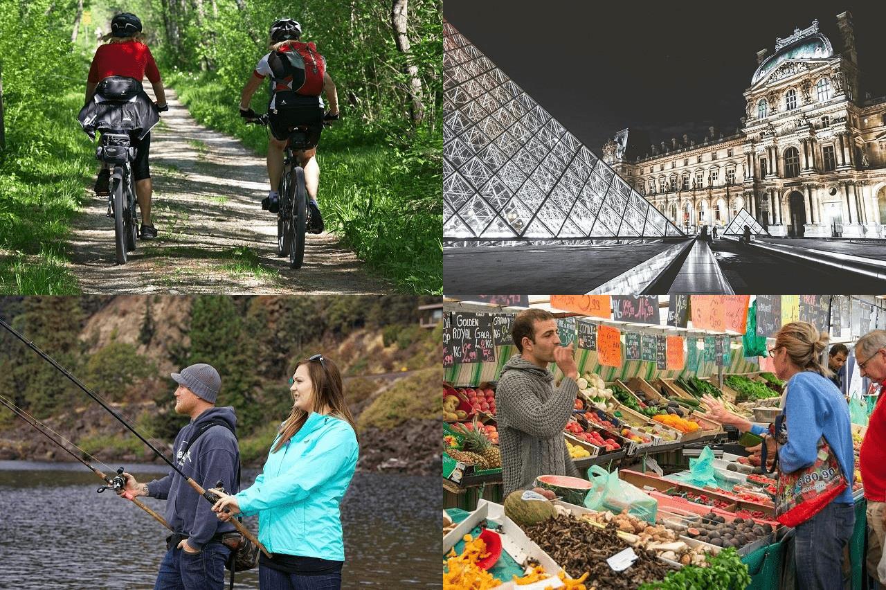 Passeio de bicicleta, visita a museus, pesca, frutas e verduras