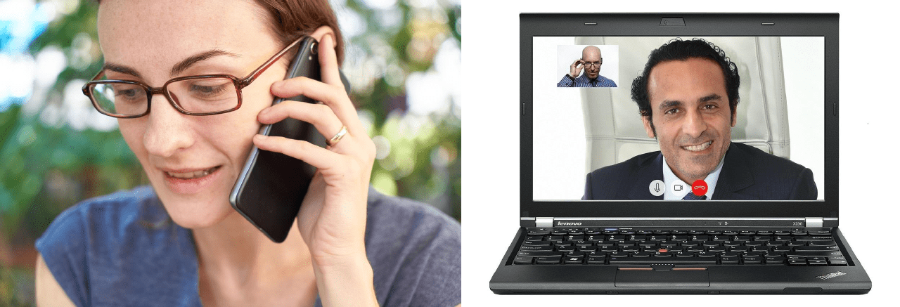 contact par téléphone, par mail ou messagerie webcam